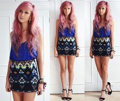 Glamorous Cobalt Blue Cami, Fashion Union Aztec Sequin Bodycon Skirt, I Krush Silver Block Heels