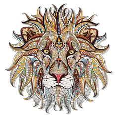 Patterned head of the lion on the grunge background African indian totem tattoo design It may be use Stock Vector Totem Tattoo, Lion Tribal, Adult Coloring, Coloring Books, Toile Photo, Art Mur, Motifs Animal, Illustration Vector, Diy Patches