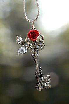 ROSE KEY NECKLACE | Winter Rose Key Necklace by KeypersCove on Etsy
