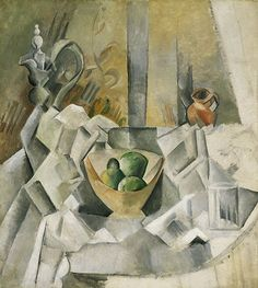 Carafe, Jug and Fruit Bowl by Pablo Picasso, Guggenheim Museum Solomon R. Guggenheim Museum, New York Solomon R. Guggenheim Founding Collection, By gift © 2016 Estate of Pablo Picasso/Artists. Kunst Picasso, Art Picasso, Picasso Paintings, Georges Braque, Picasso Still Life, Oeuvre D'art, Canvas Art Prints, Painting & Drawing, Art Gallery
