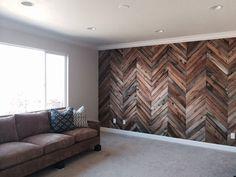 herringbone wood wall | Herringbone Reclaimed Wood Wall | basement | Pinterest
