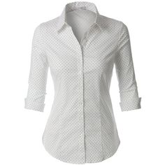 LE3NO Womens Polka Dots Button Down 3/4 Sleeve Tailored Shirt ($26) ❤ liked on Polyvore featuring tops, shirts, polka dot shirts, tailored shirts, white 3 4 sleeve shirt, white cotton tops and 3/4 sleeve tops