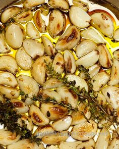 HOW TO ROAST GARLIC:    Preheat oven to 350*. place many, many cloves of peeled garlic into a shallow pan.  Add some fresh or dried herbs that you love. I add a splash of coffee for color and flavor. Add enough olive oil to cover about 1/2 way up the cloves. Roast until golden brown, about 30 minutes.  Keep whole in olive oil in the fridge, or puree and use as a spread, or swirl into any savory recipe for another layer of flavor.  Jennie Cook's Catering