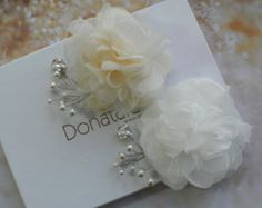 Pure Silk Bridal Hair Piece Bridal Flower Comb by FiberStone
