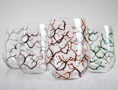 The Four Seasons Stemless Wine Glasses - Set of 4 Glasses in Winter, Spring, Summer and Fall by MaryElizabethArts on Etsy https://www.etsy.com/listing/72151349/the-four-seasons-stemless-wine-glasses