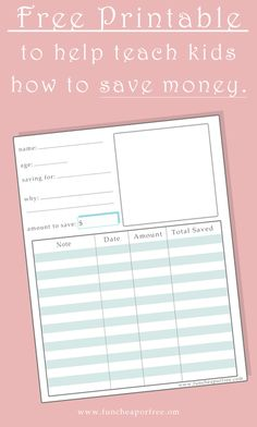 Free Printable to help teach kids how to save money, from Fun Cheap or Free. #printable