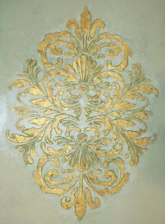 Medallion stencils are my favorite because theres just so darned much I can do with them! I can take this single stencil and use it as an all over wall treatment, use it in the center of my concrete floor as an embellishment to wow my guests, repeat it around a light fixture to create on of the most intense ceiling designs or I can use it to apply gold designs all over my darkly colored duvet cover in the guest room. I can then tape off just portions of the design to use on smaller items…