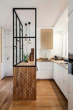 Gorgeous 36 Affordable Mid Century Kitchen Decor I Home Decor Kitchen, Interior Design Kitchen, Home Design, New Kitchen, Kitchen Modern, Kitchen Industrial, Modern Design, Kitchen Lamps, Kitchen Ideas