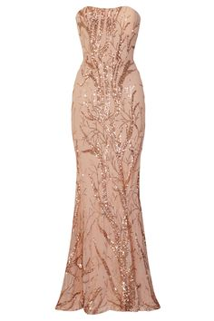 edecdfe18773 NAZZ COLLECTION HARMONY LUXE TREE ROSE GOLD SEQUIN LEAF MERMAID FISHTAIL  DRESS - Nazz Collection