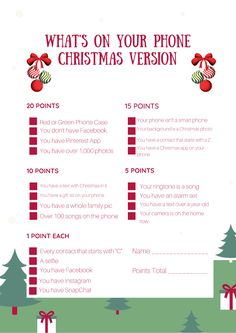 Christmas Tree Lane: What's On Your Phone Party Game William Higinbotham developed an Christmas Giveaways, 12 Days Of Christmas, Christmas Countdown, Family Christmas, Christmas Holidays, Christmas Crafts, Christmas Tree, Christmas Ideas, Dinner Games