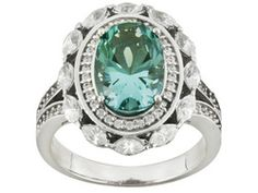 Bella Luce 5.25 cttw Caribbean Green & White Diamond Simulant Oval Sterling Silver Ring