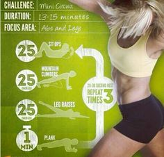Abs & legs workout.