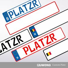 Belgian license plate customized for cars off road. Europlates bulk designs for single layer and double layer styles. Embossed Europlates: Germany, Italy...