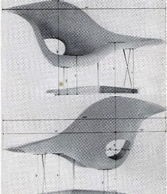 With these drawings, Charles and Ray Eames submitted their first fiberglass chair, La Chaise, to MoMA's low cost furniture competition in 1948.