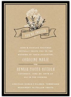 Printed in kraft paper tones, the Baby's Breath Wedding Invitations feature a sprig of delicate flowers and a ribbon-style banner. The design is accented by a bold border on the front and a complementary striped pattern on the back. #weddinginvitations #wedding #expressionery #inexpensiveweddinginvitations #weddingideas