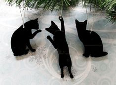 Cat Silhouette Ornaments, Christmas tree decorations cat lover kittens - product images