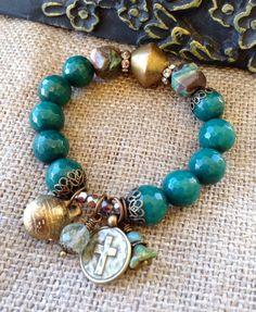 Green Jade Stretch Bracelet // Ocean jasper by CountryChicCharms