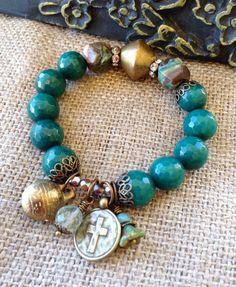 Green Jade Stretch Bracelet // Ocean jasper by CountryChicCharms