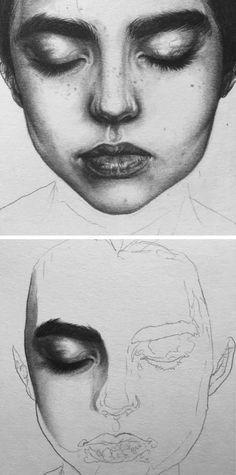 Beautiful female WIP portrait drawing by Emokih emokih.tumbler.com