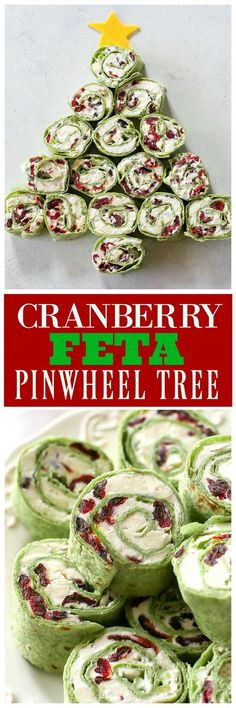 Cranberry Feta Pinwheel Tree - so easy and so festive! christmas food and drink Christmas Party Food, Xmas Food, Christmas Brunch, Christmas Appetizers, Christmas Cooking, Christmas Drinks, Christmas Eve, Christmas Trees, Christmas Meals