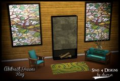 Sims 4 Designs: Abstract Green Rug