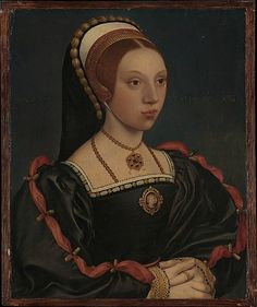 Portrait of a Young Woman, workshop of Hans Holbein the Younger, date c. 1540-5.  The style of this young woman's sumptuous attire indicates that she was most likely a member of the English royal court from about 1540–47, during the time of Catherine Howard and Catherine Parr. The woman must have been of the highest levels of society, although her exact identity remains elusive.