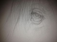 Drawing of a horses eye sketch.