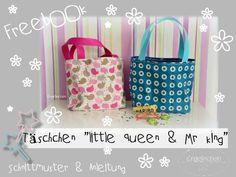 """Freebook - """"Täschchen Little Queen & Mr. King"""" - Taschen - Engelinchen Design"""