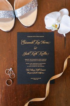 The Resort at Pelican Hill Wedding Shoes and Invite   Paper Goods   Kaysha Weiner Photographer   Wedding Photography   Southern California Photography