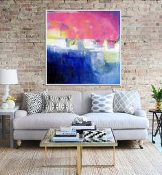 Abstract Art, Original Abstract Painting, Abstract Canvas Painting, Modern Wall Art, Contemporary Seascape, Blue Green Red Pink by Artzaro on Etsy https://www.etsy.com/listing/240587133/abstract-art-original-abstract-painting