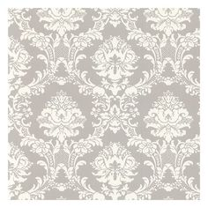 White on Gray Victorian Stencil Floral Damask Wallpaper... for back of China Cabinet