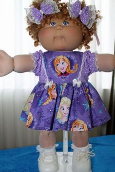 Cabbage Patch Doll Cloths- Purple FROZEN dress -matching panties - 2 hair bows