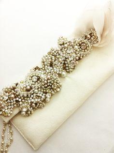 Rhinestone Bridal Clutch- Vintage Wedding- Swarovski Crystal Bridal Clutch.  via Etsy.
