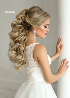 Pulled Back Loose Curls Long Hair Wedding Hairstyle