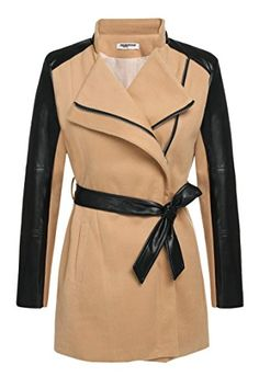 Zeagoo Women Zip Lapel Synthetic Leather Sleeve Patchwork Wool Trench Coat ** Be sure to check out this awesome item.