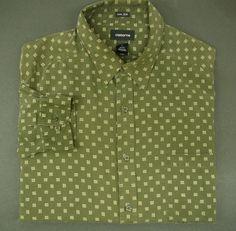 CLAIBORNE Silk Mens shirt XL LS  long sleeve Green super soft #Claiborne #ButtonFront