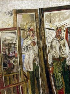 Three Self-Portraits with a White Wall, 1957 by John Bratby (British Painting Collage, Painting & Drawing, Life Drawing, Figure Painting, John Bratby, Selfies, Walker Art, Royal Academy Of Arts, Art Uk