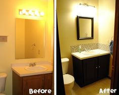 Not ready to redo your whole bathroom? Swap out the mirror & light fixtures, add a backsplash and stain the vanity. A cheap weekend project that will transform your space.