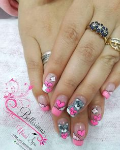 So cute Coffen Nails, Pink Nails, Hair And Nails, Animal Nail Designs, Toe Nail Designs, Trendy Nail Art, Stylish Nails, Cute Acrylic Nails, Cute Nails
