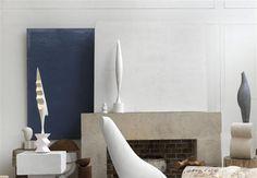 """Blue canvas in the studio of Brancusi - he used this as a background to photograph his sculputures against.  """"Vue d'atelier, avec le """"Fond de toile bleu"""" 1957  / Paris, musée national d'Art moderne - Centre Georges Pompidou"""