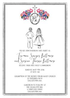 Printable 'Custom Sketch' First Communion Invitation - Twins by CustomInkDesigns on Etsy https://www.etsy.com/listing/261185453/printable-custom-sketch-first-communion
