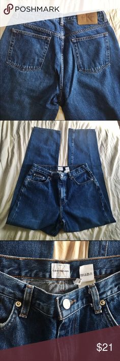 "Calvin Klein Vintage 90's high waisted jean High waisted 90's OG ""mom jeans"". These are perfect condition. CK easy fit Jean in color, darksandblast. These would be awesome cut and made into shorts too!!! Super cute! Waist is 30"" Calvin Klein Jeans Straight Leg"