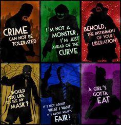 Batman's villains: Ra's al Ghul, Joker, Bane, Scarecrow, Two-Face, Catwoman