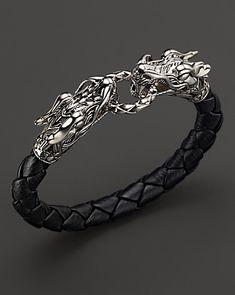 John Hardy Men's Naga Silver Black Woven Leather Dragon Bracelet | Bloomingdale's