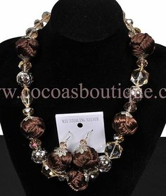 Chunky Brown Woven Ball and Crystals Necklace and Earrings Set Sterling Silver | eBay