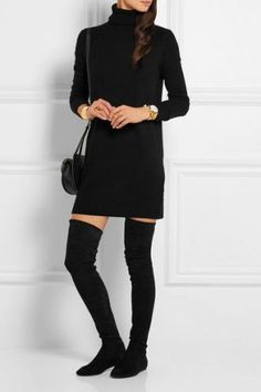 Style with black dress and high boots on oksweb.com