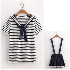 """Japanese students stripe T-shirt + straps skirt two- piece outfit Coupon code """"cutekawaii"""" for 10% off"""