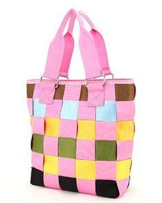 Weave Woven Seat Belt Handbag Tote Bag Gingham Pink Olive Yellow Black Blue | eBay