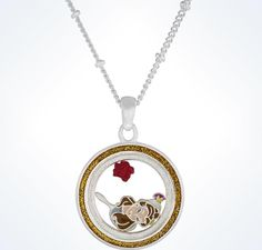 disney parks beauty and the beast belle charm keeper necklace new with tags