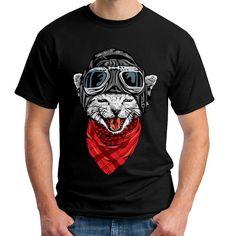via en.dawanda.com Mens Printed T-Shirts – Adventurer Cat - Man T-Shirt – a unique product by just-tee on DaWanda